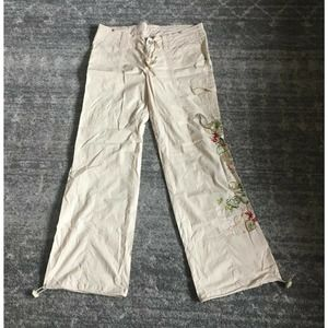 Younique Pants 11 Flower Embroidery Drawstring